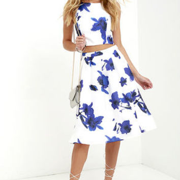 Just My Imagination Ivory and Blue Floral Print Two-Piece Dress