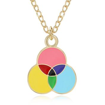 Lovely Cartoon Three Round Enamel Colorful Charms Pendants Rainbow Balloon Necklace For Women  Choker Jewelry