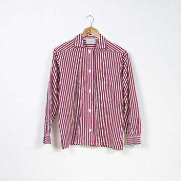 Vintage YSL Cotton Pajamas Style Shirt / Yves Saint Laurent Paris Co-Wear / Made in France / Striped Boxy Early Workers Style Shirt