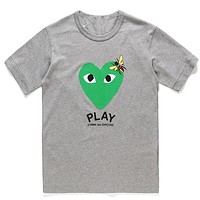 PLAY 2019 new street fashion men and women wear love printed round neck half sleeve T-shirt Grey