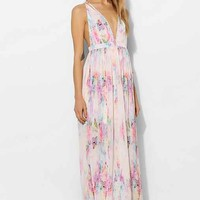 Oh My Love Strappy Plunge Maxi Dress- Pink