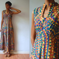 Vtg 60's Psychedelic Print Yellow Green Blue Sleeveless Maxi Dress