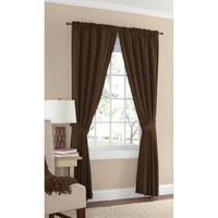 "Mainstays Microfiber Curtain Panel, with Tieback, Brown, 54"" x 40"""