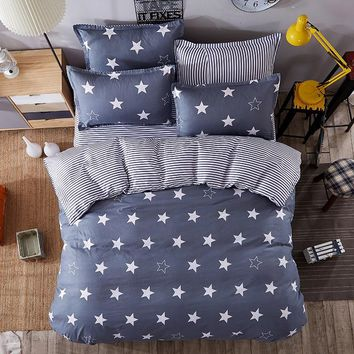 JU Home Bedding Sets White Star Clouds Plaid Twin/full/queen/kingsize Duvet Cover Sheet Pillowcase Bed Linen Bedclothe