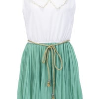 Peter Pan Neckline Green Dress [NCSKX0089] - $41.99 :