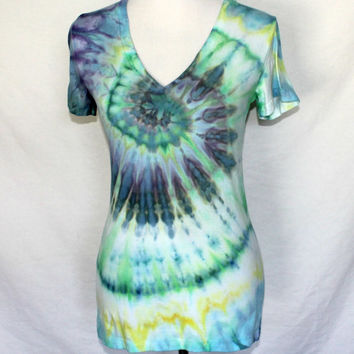 Tie Dye V-Neck Womens Shirt in Green, Blue and  Yellow,  Junior Size Medium Tie Dye T-Shirt
