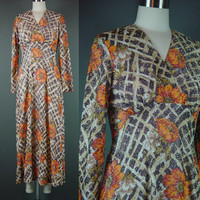 70s Metallic Party Dress Vintage 1970s Avalon Floral Orange Brown Fitted Midi Cocktail Holiday XS S