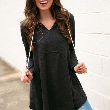 Be Somebody Hoodie Tunic- Charcoal