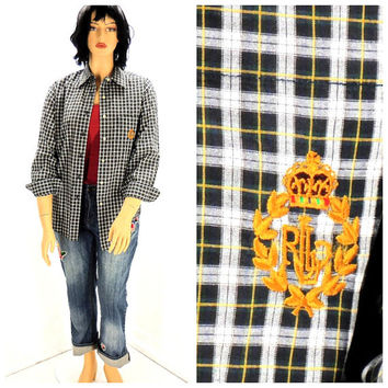 Vintage 80s Ralph Lauren shirt / size M 9 /10 / tartan cotton shirt / 1980s Lauren  preppy long sleeve plaid oxford blouse