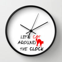 Let's cat around the town! Wall Clock by Twin Ring Design