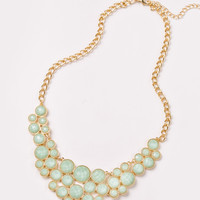 Kasey Mint Jeweled Circle Statement Necklace