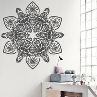 Wall Decor Vinyl Sticker Decal Mandala Hindu Hinduism Religion Faith Art Ornament Tracery Bedroom Yoga Mehndi (s165)