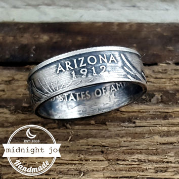 Arizona 90% Silver State Quarter Coin Ring