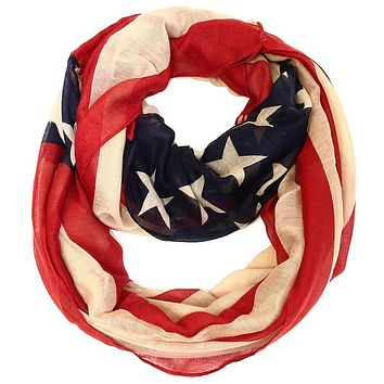 Dark Antique American Flag Infinity Scarf