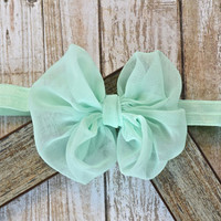 Mint hair bow headband, Chiffon fabric knotted headband, Baby, Toddler, Newborn, Girl, 901