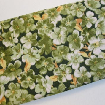 Flower Checkbook Cover for Women, Green and Yellow Floral Accessories, with Pockets and Sewn In Elastic, ONLY 1 LEFT