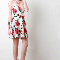Sweetheart Rose Print Skater Dress