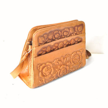 BOHO tooled leather purse vintage 50s 1950s MAYAN calendar embossed BOHEMIAN hippie collectible shoulder bag