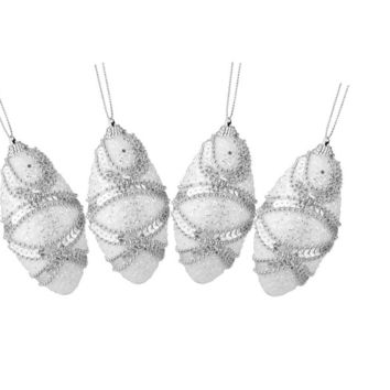 4ct White  Holographic Sequined and Silver Beaded Shatterproof Christmas Finial Ornaments 4.5""