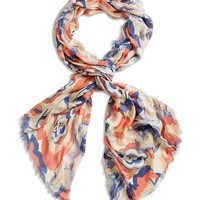 Lucky Brand Deco Floral Scarf Womens - Coral Pink (One Size)