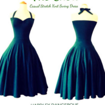The CHERI HALTER dress in Forest Green, Casual Rockabilly Pin Up CHRISTMAS Everyday Dress, Pin Up 1950s Styel by Hardley Dangerous