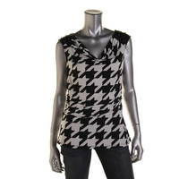 Style & Co. Womens Matte Jersey Houndstooth Blouse
