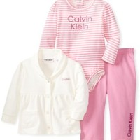 Calvin Klein Baby-Girls Newborn Cream Jacket With Bodysuit And Pink Pants, Ivory, 0/3 Months