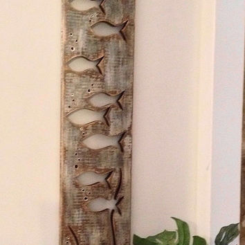 Driftwood Art Fish School Sign Wall Decor Beach Lake House Cabin Cottage by CastawaysHall
