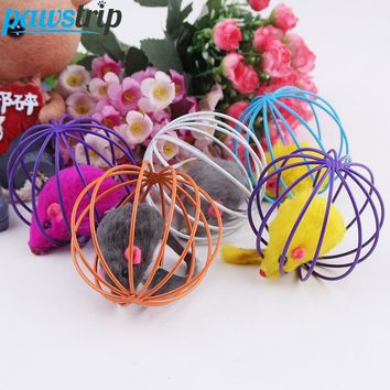 1pc Interactive Cat Toys Mouse in Cage Ball Toys 6cm Diameter