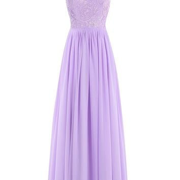 Ubridal Women's Long Lace Bridesmaid Dress Chiffon Hollow Back Prom Gowns