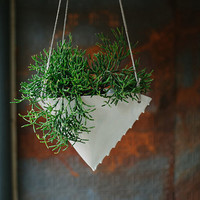 Porcelain Hanging Planter - Scalloped