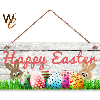 "Happy Easter Sign, Rustic Wood Style, Holiday Door Sign, 6"" x 14"" Sign, Easter Eggs and Easter Bunnies Decor, Made To Order"