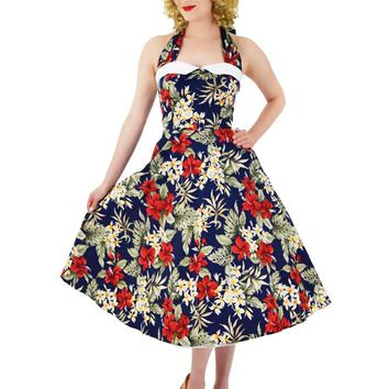 50s Inspired Navy Red Hawaiian Floral Halter Midi Dress