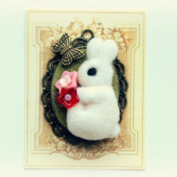 Needle felted white rabbit holding a red and pink flowers bouquet pendant necklace, whimsical jewelry