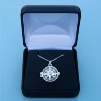 Engraved Compass Rose Silver Compass Locket with 19.5 Inch Silver Chain