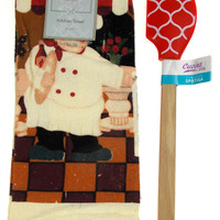 "Kitchen Towel Chef Cafe Scene 15""x25"" Red White Silicone Spatula Gift Set of 2"