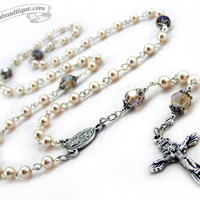 Easter Rosary, white rosary, communion gift, confirmation rosary, baptism gift, communion rosaries, baptism rosary, first communion, gift