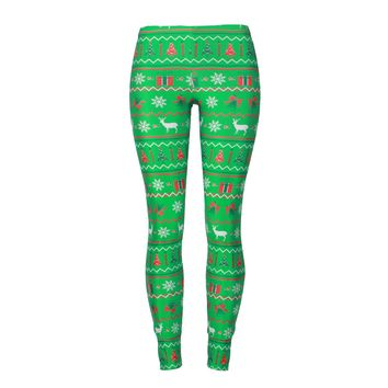 Christmas Digital Print Women Mid Elastic Waist Skinny Leggings