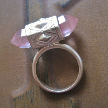 Rose Quartz Crystal Ring Size 7.5 Double Terminated Matte Gold Middle Finger Knuckle Jewelry