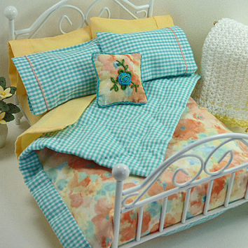 Dollhouse Miniature Quilt, Peach Blanket, Small Quilt, Doll Bedding, Decorator Throw Pillow, Bed Pillows, One Inch Scale, Dollhouse Artisan