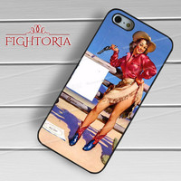 pin-up cow girl action-yah for iPhone 4/4S/5/5S/5C/6/ 6+,samsung S3/S4/S5,S6 Regular,S6 edge,samsung note 3/4