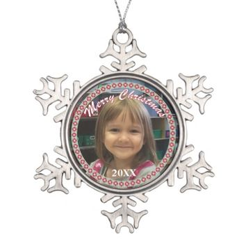 Personalized Merry Christmas Snowflake Ornament