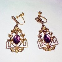 Gold Purple Glass Cabochon White Pearls Earrings Vintage Square Art Deco Costume Jewelry Fancy Decorative Fashion Dangle Screw Back Estate