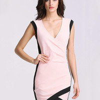 Pink V-neck Sleeveless Wrap Mini Bodycon Dress