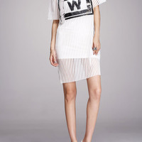 White Letter W See Through Mess Dress With Camisole