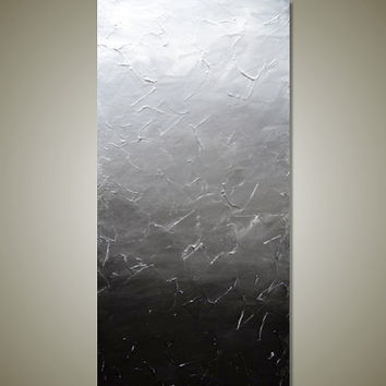 Large BLACK and SILVER Ombre Textured Abstract Painting - Modern Contemporary Canvas Acrylic Art - Foggy Reflections: 18 x 36