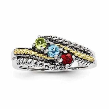 Mother's Sterling Silver Personalized Ring W/ 14k Three Birthstones Antique Finish