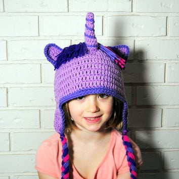 Crochet Little Pony Hat, Girls Purple Unicorn Hat, Winter Hat with Ears, Girls Horse Hat, Knit GIrls Hat, Unicorn Hat, Photo Prop, Dress Up