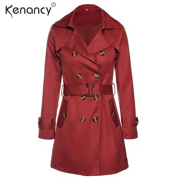 Kenancy 4XL Plus Size Overcoat Medium Long Trench Coat Women Sashes Belted Double Breasted Windbreaker Turn-down Collar Outwear