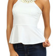 Necklace Detail Peplum Top - White